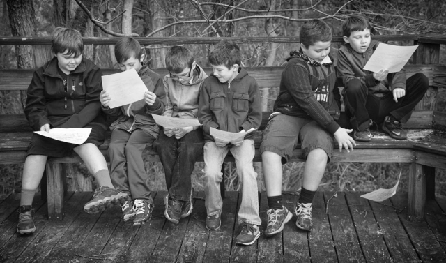 Third graders at Jacksboro elementary school spend time in the Eagle's Nest, an outdoor learning center. (from left to right) Mason Artz, Matt Stevens, Jesse Brandenburg, Landon Cureton, Chance Woodson and Robby Wilson photo by Cameo Waters - 2016