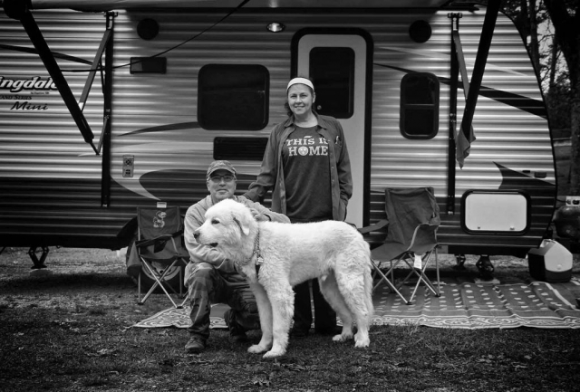 Steven, Marigol, and their dog Olympus from Sevierville, camp at Cove Lake State Park Campground. photo by Caleb Jones - 2018