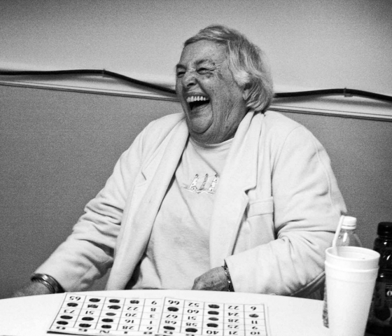 Janice Burris laughs off one of several false wins during a bingo game at the LaFollette Senior Center. photo by Anne Whitworth - 2009