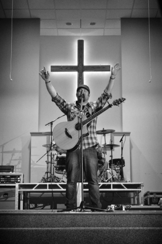 Brightgray frontman Danny Bright leads worship at the Disciple Now conference. photo by Robby Veronesi - 2014