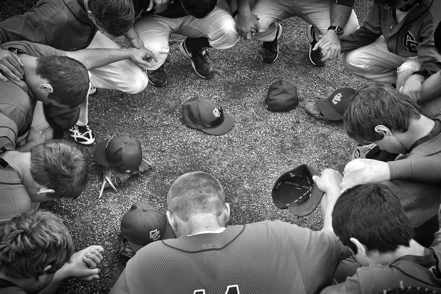 Campbell County Comprehensive High School Baseball team prays before a game. photo by Parker Eidson - 2014