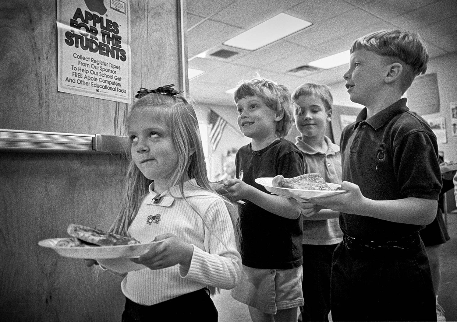 Amber Meredith is not amused by the antics of her classmates  (I.to r.) :Makayla Partin, Joey Shoun, and Chris Poteet, during lunch at Christian Academy of Campbell County.  photo by Joshua Brown  - 1997