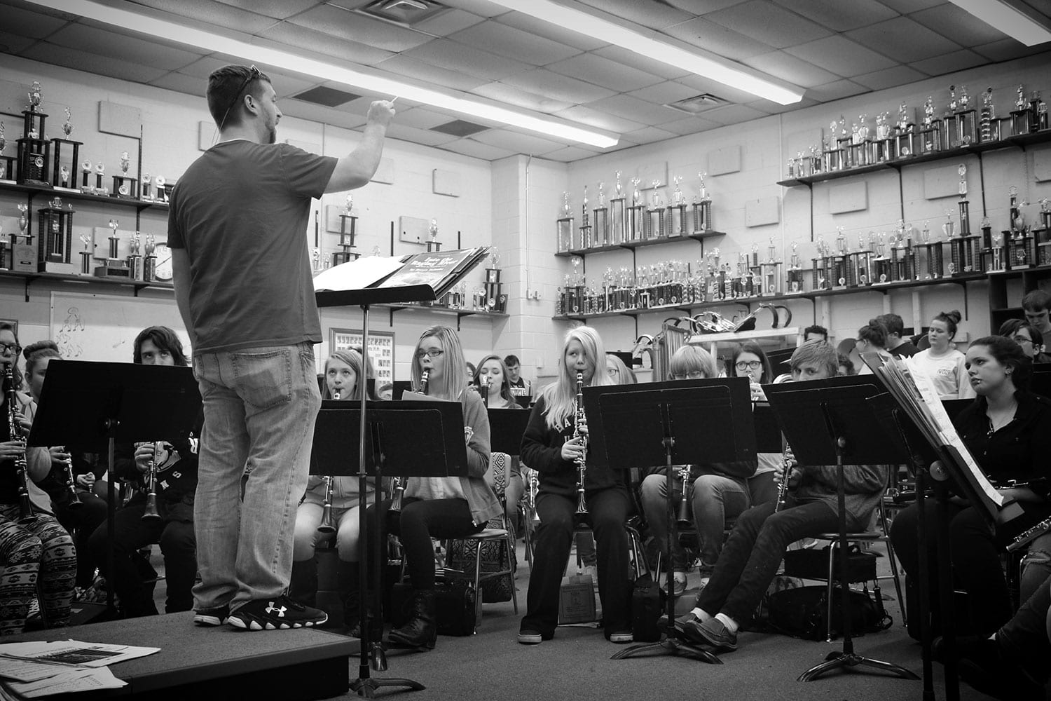 Adam Wright conducts the band at CCHS. photo by Joy Wang - 2017