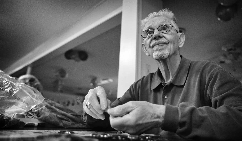 James Christopher plays bingo at the Senior Center. photo by Kellie Ward - 2019